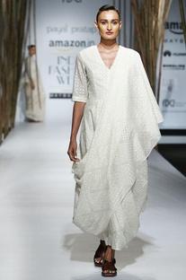 Ivory embroidered sari