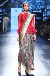 Shadow grey sari with rose motif