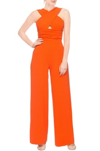Orange jumpsuit with cross-over pattern