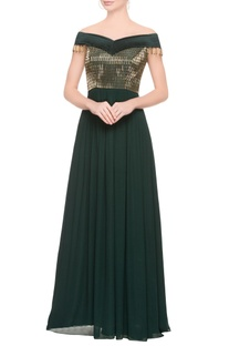 Emerald green embellished gown.