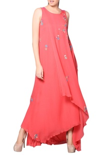 Coral pink flap gown with embroidery