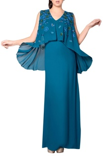 Teal blue embroidered gown with cape