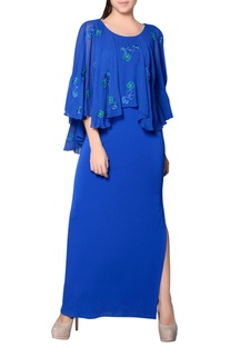 Cobalt blue cape gown with embroidery