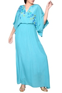 Aqua blue gown with embroidery
