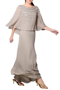 Light grey embroidered cape gown