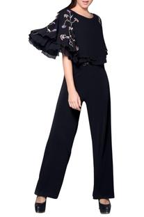 Black embroidered cape jumpsuit