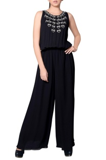Black jumpsuit with embroidery