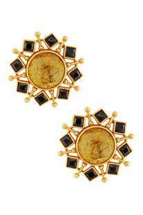 Gold & black circular earrings