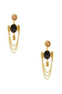Gold & black chain earrings
