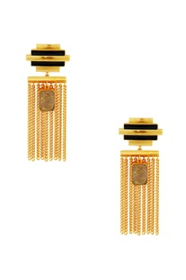 Gold & black striped earrings with chain