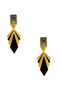 Gold & black layered earrings