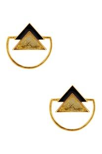 Black & gold triangle earrings