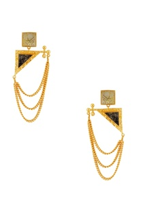 Gold & black stone earrings with chains