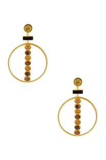 Gold & black highlighted stone earrings with a circular piece
