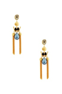 Gold & black earrings with blue stone