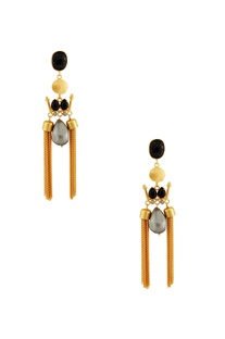 Gold & black earrings with grey stone