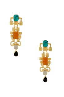 Gold earrings with multi colored stones