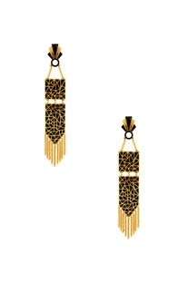 Black & gold earrings with geometric design