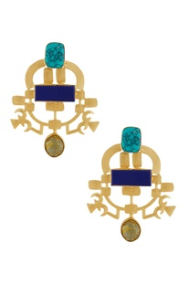 Gold earrings with blue stones