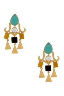Blue & orange stone earrings