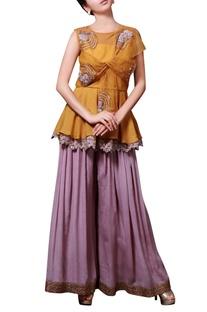 Yellow & lilac embellished pant set