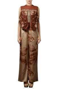 Cinnamon brown printed pant set