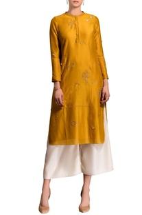 Mustard yellow kurta set with embroidery