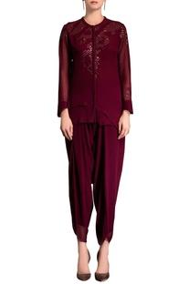 Burgundy embellished top
