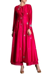 Fuchsia pink applique kurta set