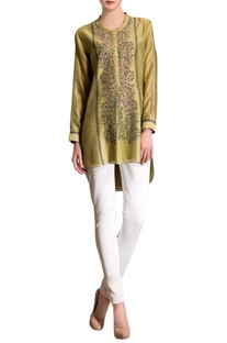 Fern green embroidered tunic