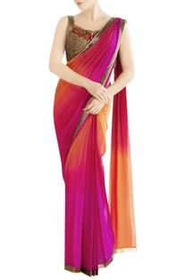 Orange & fuschia shaded sari with embroidery