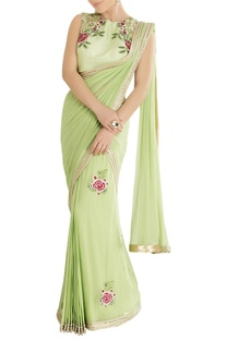 Mint green sari with embroidery