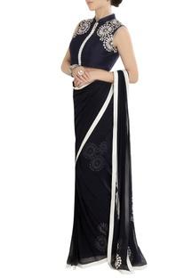 Navy blue sari with threadwork