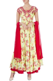 Yellow embroidered anarkali with dupatta