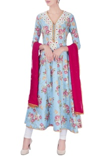 Blue anarkali set with poth embroidery