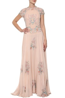 Peach floral embroidered gown
