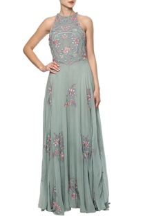 Green embroidered gown