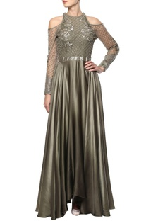 Olive green embellished gown