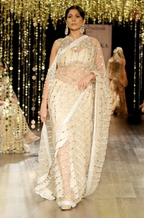 Champagne sari with beadwork