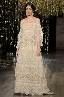 Champagne off shoulder embroidered cape with sharara