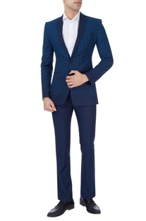 Navy blue hand embroidered suit