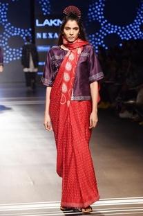 Red shibori & bandhani sari