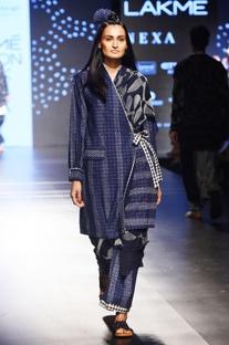 Indigo bandhani printed kimono jacket