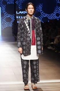 Black jacket with shibori print