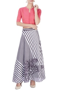 Light pink top with printed skirt