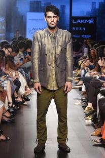 Khaki textured weave shirt