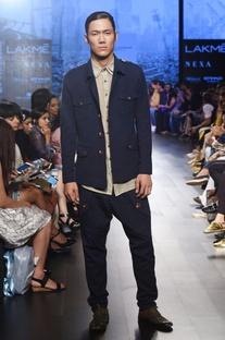 Navy blue khadi jacket