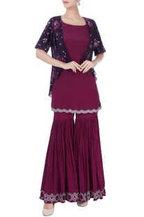 Wine kurta & sharara with jacket