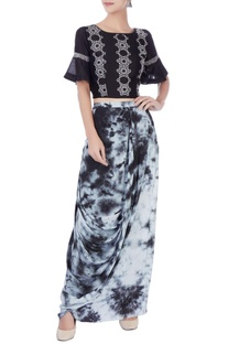 Black & white dhoti skirt & crop top