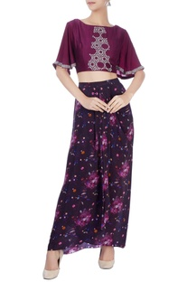 Black dhoti skirt & wine crop top